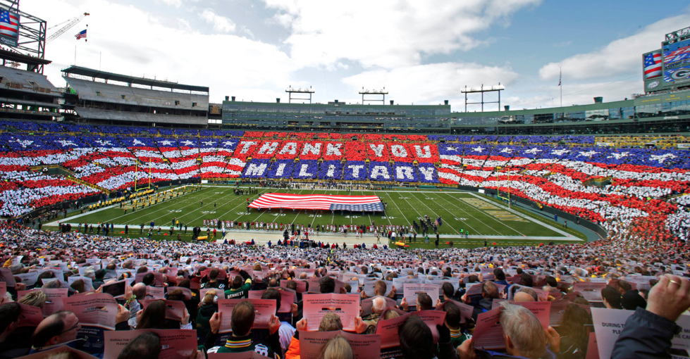Image result for glorifying military at sporting events