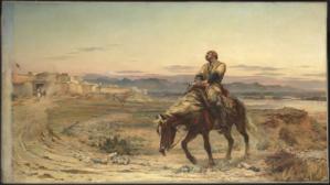 Lady Elizabeth Butler's rendition of the sole survivor Dr. Brydon entering Jalalabad, 1879.