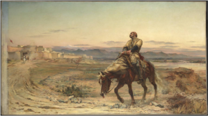 Lady Elizabeth Butler's rendition of the sole survivor Dr. Brydon entering Jalalabad, 1879.